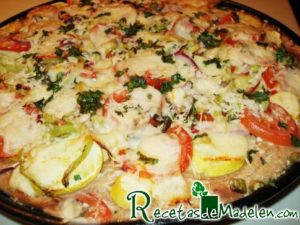 Yellow Zucchini Pizza with tomatoes on whole wheat crust