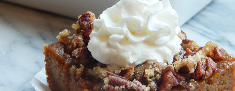 Pumpkin Pie Bars with Pecan Streusel